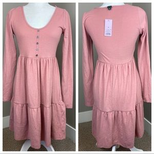 NWT WILD FABLE PINK BABYDOLL LONG SLEEVE  DRESS